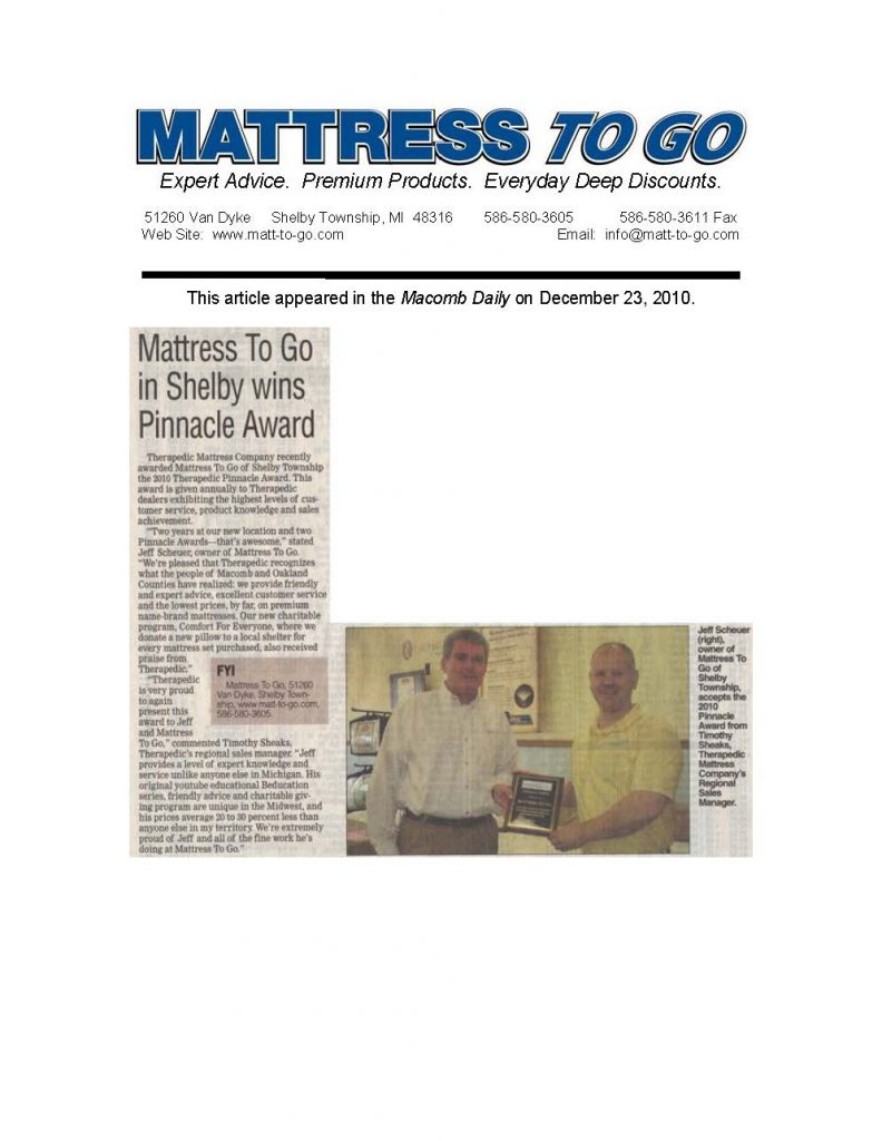 Macomb Daily article about Mattress To Go winning second Therapedic Pinnacle Award