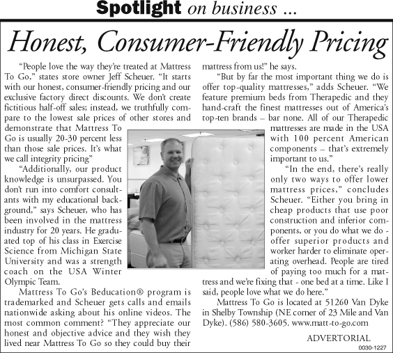 Mattress To Go's consumer-friendly pricing featured in article in C and G News.
