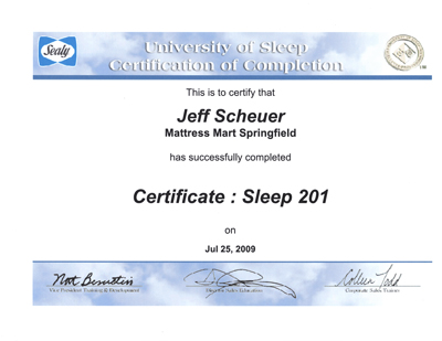 Jeff Scheuer Earns Sealy University Of Sleep Certification