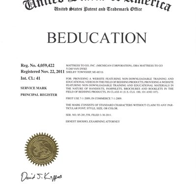 Mattress To Go's Beducation® Program Earns Trademark