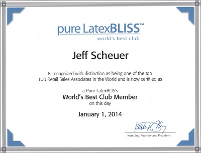 Mattress To Go Owner Jeff Scheuer Named To Pure Latex Bliss World's Best Club