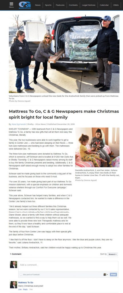 C and G News covers the Mattress To Go donation of mattresses.