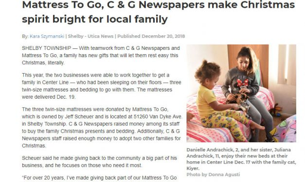 Mattress To Go Donation In C And G News