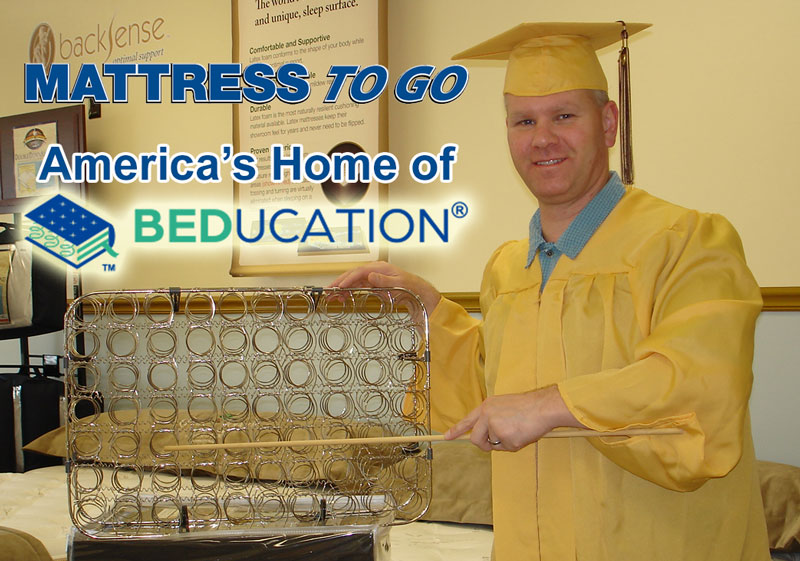 Jeff Scheuer, America's Beducator, points out a mattress innerspring unit.