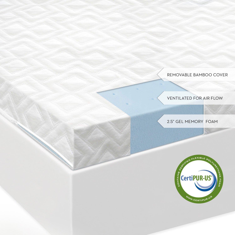 2.5/'/' 2-Layer Twin Full Queen King Memory Foam Mattress Topper Gel CertiPUR-US
